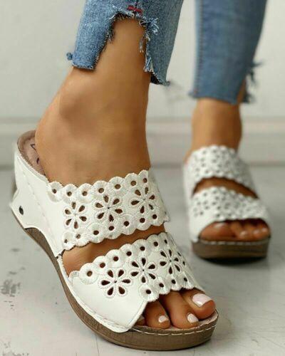 Ladies Womens Comfort Mid Wedge Casual Summer Slip On Mules Sandals Shoes Size