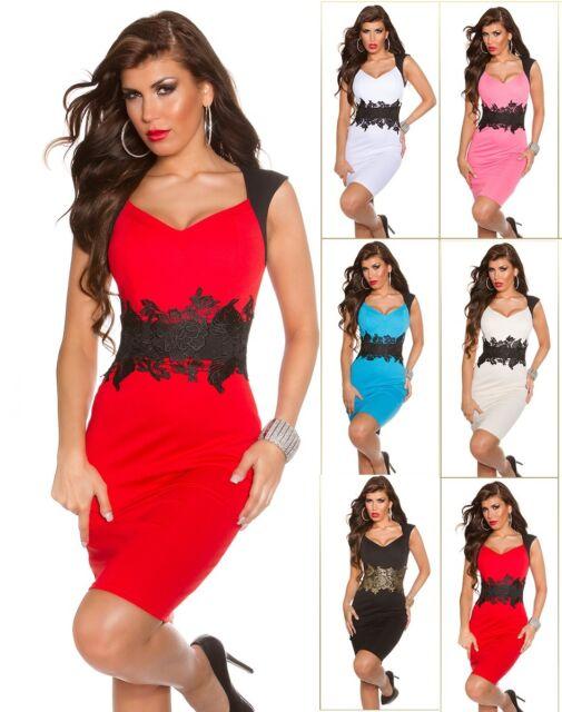 # SEXY Koucla Cocktail KLEID Party PencilKleid Abendkleid DRESS Stickerei  #