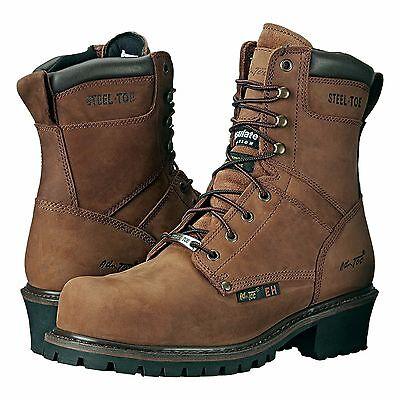 a28702f0ccd 9490 AdTec Men's 9'' Steel Toe Super Logger Brown | eBay