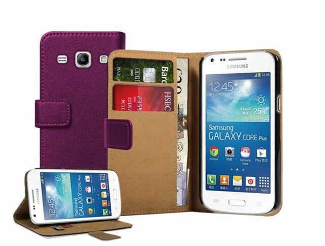 Wallet PURPLE Leather Case Cover for Samsung Galaxy Core Plus SM-G350 / G3502