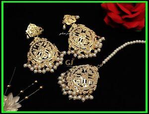8c968b15a Image is loading Gold-Plat-Jadau-Bollywood-Punjabi-Muslim-Pakistani-Earrings -