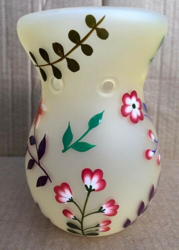 blanc cassé Handcrafted Verre Bougie Pot Ombre et brûleur-floral