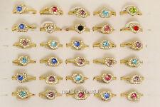10pcs Jewelry Rhinestone Gold Plated Fashion Woman Gift Rings Wholesale Lot FREE