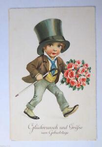Geburtstag, Kinder, Mode, Zylinder, Blumen, 1930 ♥  (29485)