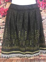 Peter Nygard Womens Praga Chocolate Brown Multi Embellished A-line Skirt Size 6