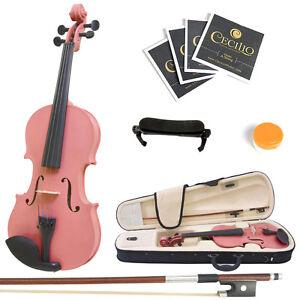 Mendini-Size-1-4-Solidwood-Violin-Metallic-Pink-ShoulderRest-ExtraStrings-Case