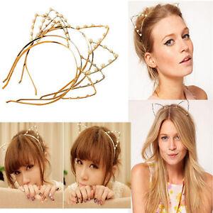 Women-Girls-Cute-Cat-Ears-Fashion-Pearl-Rhinestone-Alloy-Headband-Hair-Band-HIY