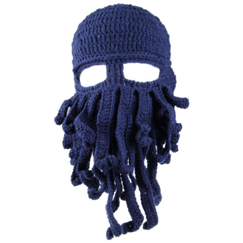 Men Funny Tentacle Octopus Cthul hu Knit Beanie Warm Hat Caps Windproof Mask