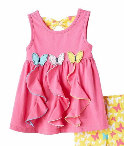 Nannette 2pc Set Top With Bike Shorts Butterfly Baby Girls Pink Yellow