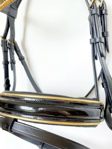 Black Hanoverian Bridle with Patent Noseband