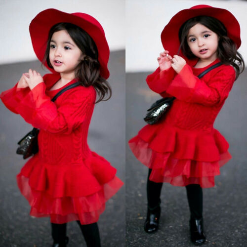 Kids Girls Knitted Sweater Winter Pullovers Crochet Tutu Dress Party Clothes