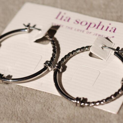 Lia Sophia Jewelry Balance ton argent Boucles d/'Oreilles Créoles Mignon RV $28 livraison gratuite