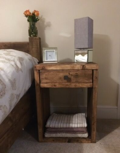 Bedside Cabinet Side Table Cabinet Reclaimed Wood Cast Iron Handle