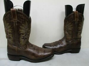 4a2500c92f7 Double H Brown Leather Square Toe Cowboy Boots Mens Size 10 D Style ...