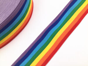 5-10-y-Polyester-Rainbow-Color-Stripe-Woven-Grosgrain-Ribbon-sewing-Craft-selec