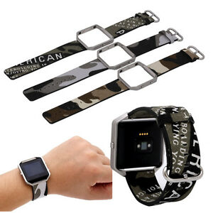 Camouflage-Camo-Canvas-Replacement-Watch-Band-Strap-for-Fitbit-Blaze-With-Frame