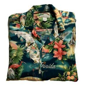 Paradise-Found-Hawaiian-Mens-Shirt-L-Florida-South-Beach-Flamingos-Palm-Trees