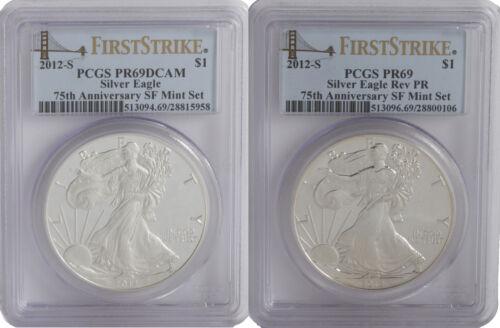 2012-S PCGS PR69 2 PC Proof Silver Eagle Set FS DCAM /& Rev PR Bridge Label