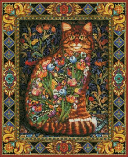 Tapestry Cat Chart Counted Cross Stitch Patterns Needlework DIY DMC Color