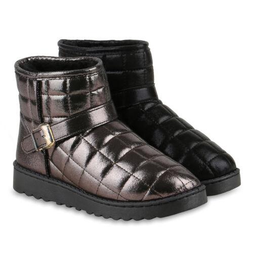 Schlupfstiefel Damen Gesteppt Snow Stiefeletten Warm Gefüttert 813977 Schuhe