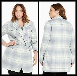5942cdfb13a NWT Torrid Plus Size 0X Large Plaid Wool Midi Heavy Coat Jacket Gray ...