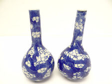 Antique Pair Old Blue White Porcelain Chinese Quality Bud Vases Decorative China