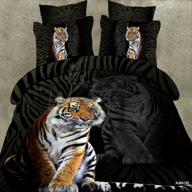Double/Queen/King Size Bed Quilt/Doona/Duvet Cover Set Black Polyester Tiger New