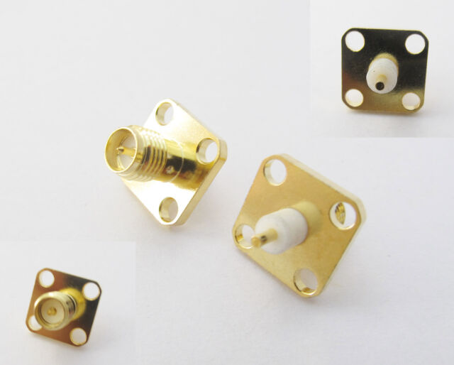 RP-SMA Female Plug Male Pin Chassis Panel Mount 4 Hole Flange Solder Connector