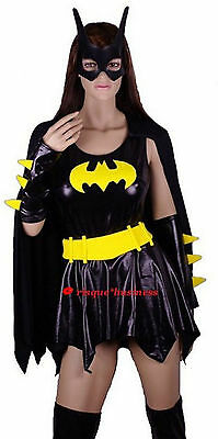 Batgirl Bat Girl Fancy Dress Costume + Mask - M L (10 12 14 16)