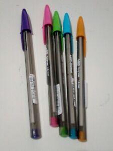 Lot-5-Stylos-Bic-1-6-mm-Cristal-Couleurs-Original-Stylo-Stylo-a-Bille-Encre-Fluo