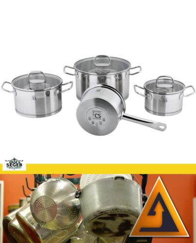 7 Pcs Lot de Casserole induction en acier inoxydable 18//10 casseroles Casserole Pot CS