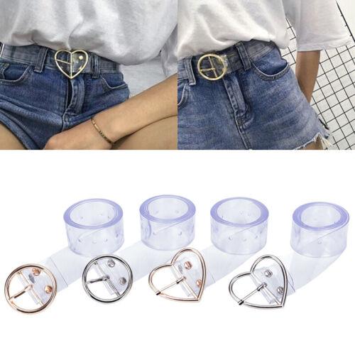Mujeres Largo Transparente Cintura con Hebilla de cinturón heart Pin hembra Cinturón Pretina Regalo VQ