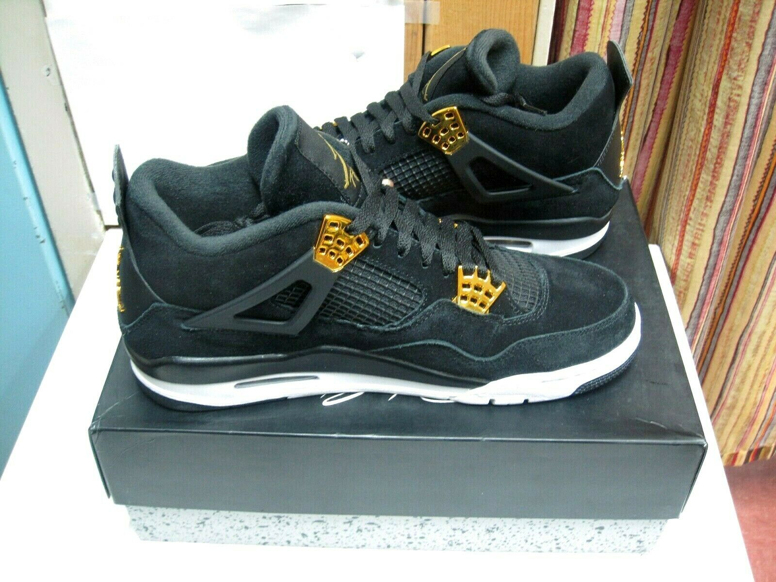 low priced 80cae 17d28 NEW Nike Jordan IV Retro 4 Royalty Men 11 Black gold New in ...