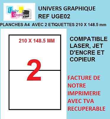 planche de 8 étiquettes autocollantes blanche 99,1 x 67,7 mm  L7165  imprimante
