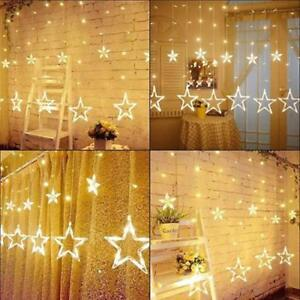 Details About Star Shaped Led Curtain Window String Lights Bedroom Xmas Fairy Lamp Home Decor