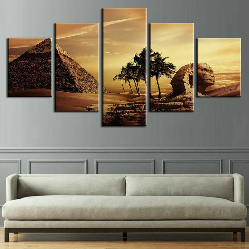 Ancient Egyptian Pyramid Pharaoh 5 Pieces Canvas Wand Home Decor Poster Kunstwork