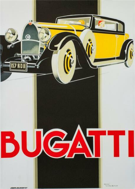 Bugatti Vintage Racing Car Poster Fine Art Lithograph Rene Vincent Re Society