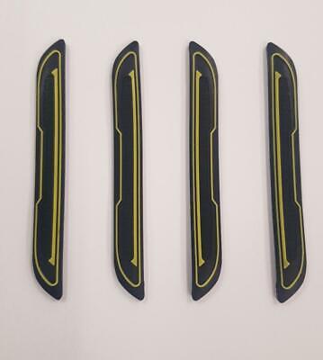 4x Black Rubber Door Boot Guard Protectors Yellow Insert (dg5) Fits Bmw