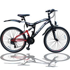 26 zoll mountainbike shimano 21gang 26 fahrrad schwarzrot mit vollfederung ebay. Black Bedroom Furniture Sets. Home Design Ideas