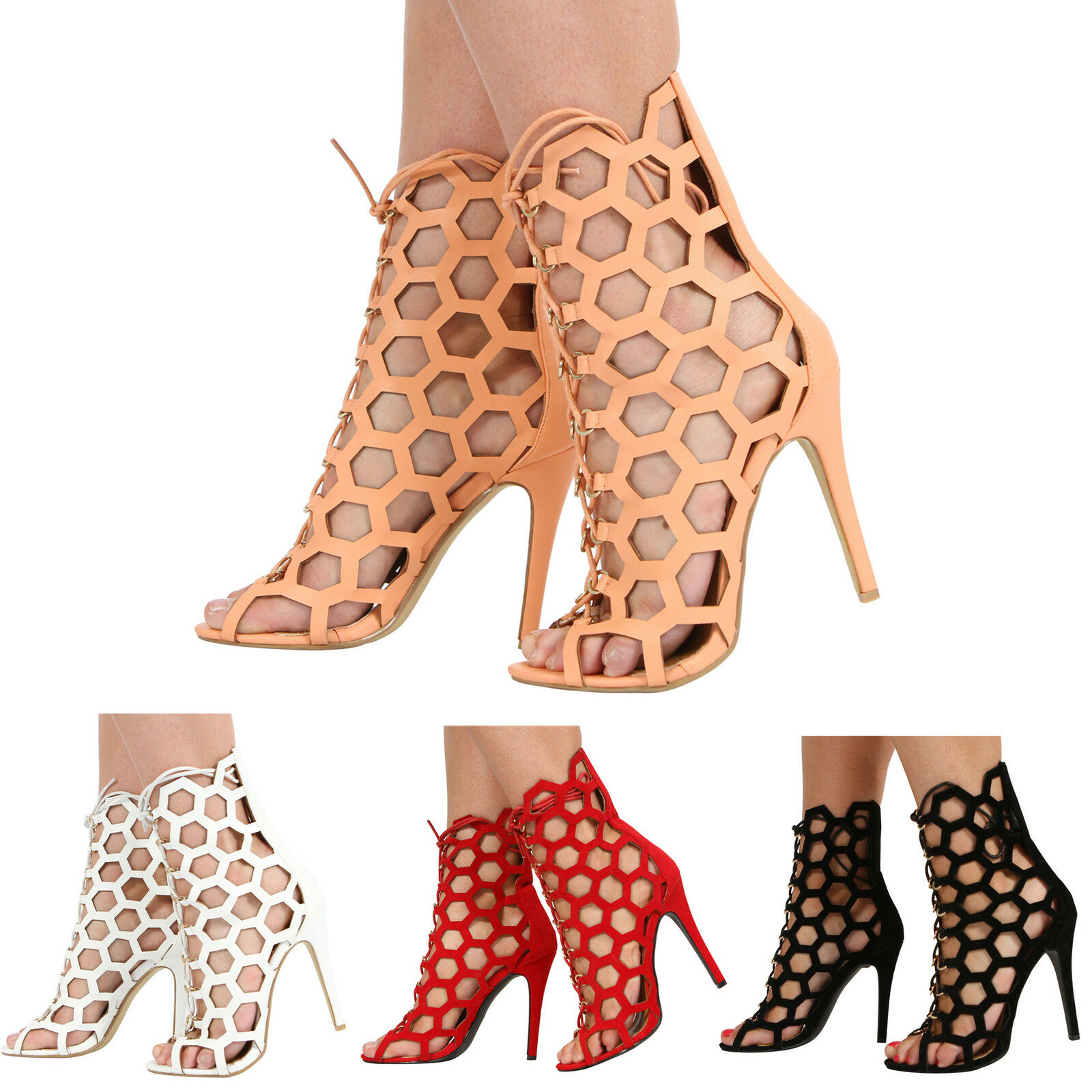 NEW WOMENS HIGH HEEL CUT OUT CAGED PEEPTOE LACE UP LADIES SANDALS SHOES SIZE 3-8