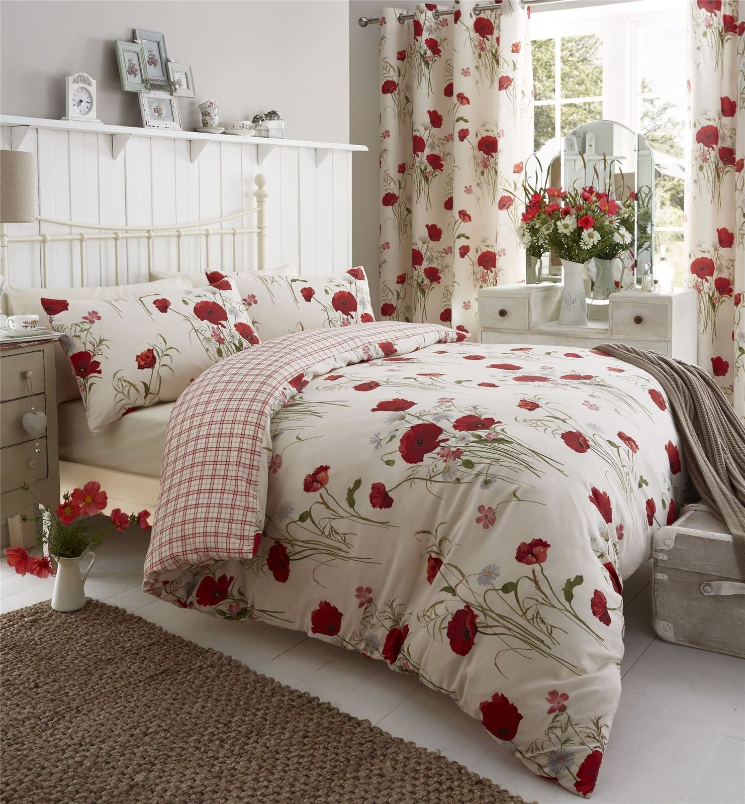 MEADOW POPPY DAISY rot KING Größe DUVET COMFORTER COVER & RING TOP CURTAINS