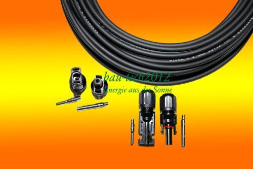 2 Paires Mc 4 Fiche pour Montage 1 X 20 M Câble Solaire Noir 6mm2