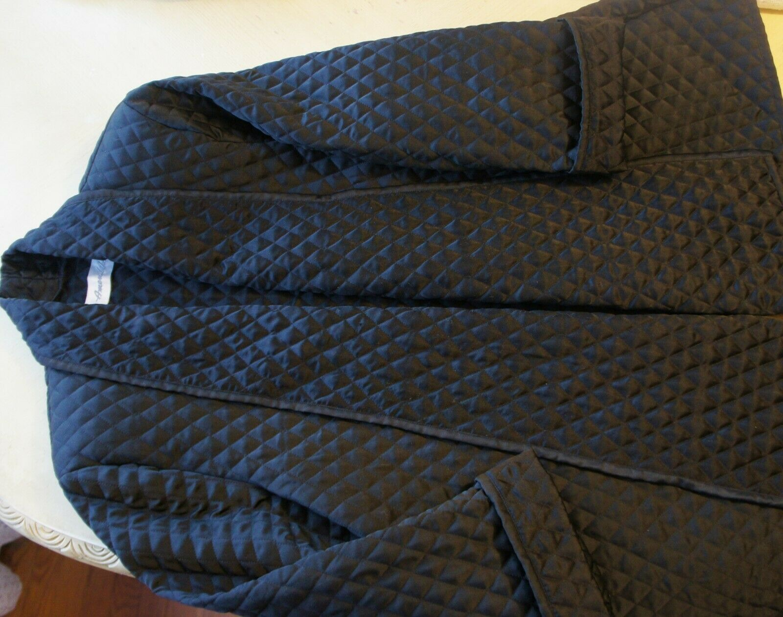 Auth Amen Wardy Black Quilted Open Jacket Sz M - image 4