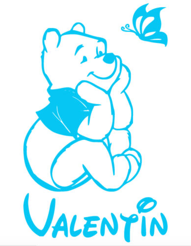 Stickers Winnie l/'Ourson 20x33cm prénom et couleur au choix
