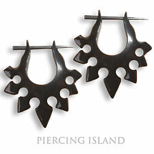 Paar ! Ohrringe Schwarze Creolen Horn Piercing Design Black Horn Earrings ER023