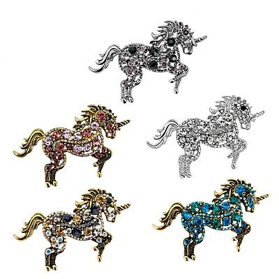 Pretty Pink Unicorn Horse Art Style Pendant Brooch Pin Rhinestone Crystal