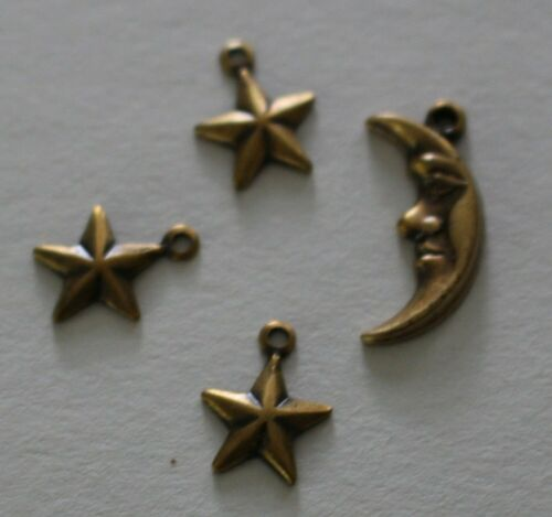 Detailed Crescent Moon /& 3 Stars Brass charms