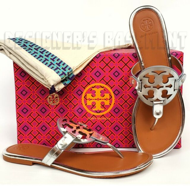 TORY BURCH silver Mirror 8 leather MILLER cutout Logo thong Sandals NIB Authentc