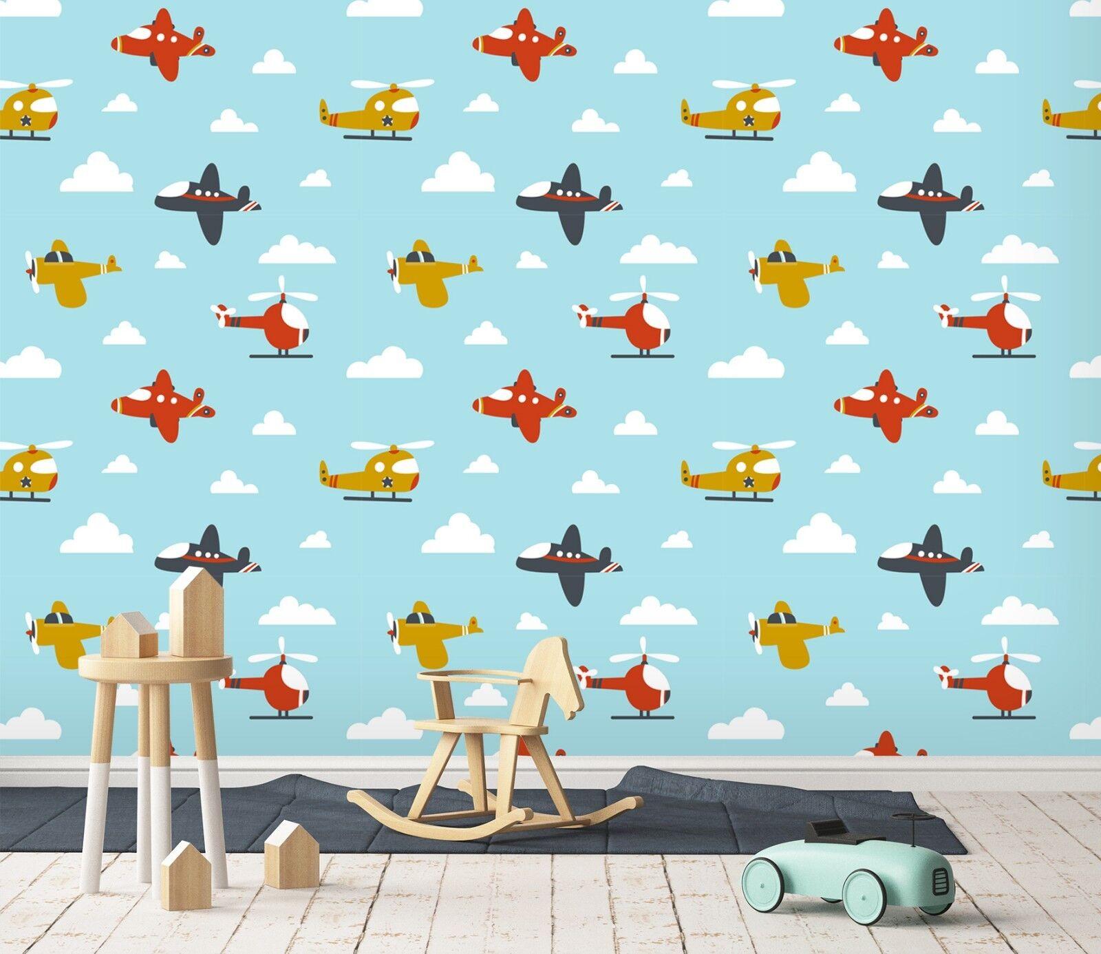 3D Flugzeug Wolke 123 Tapete Wandgemälde Tapete Tapeten Familie Kinde DE Lemon