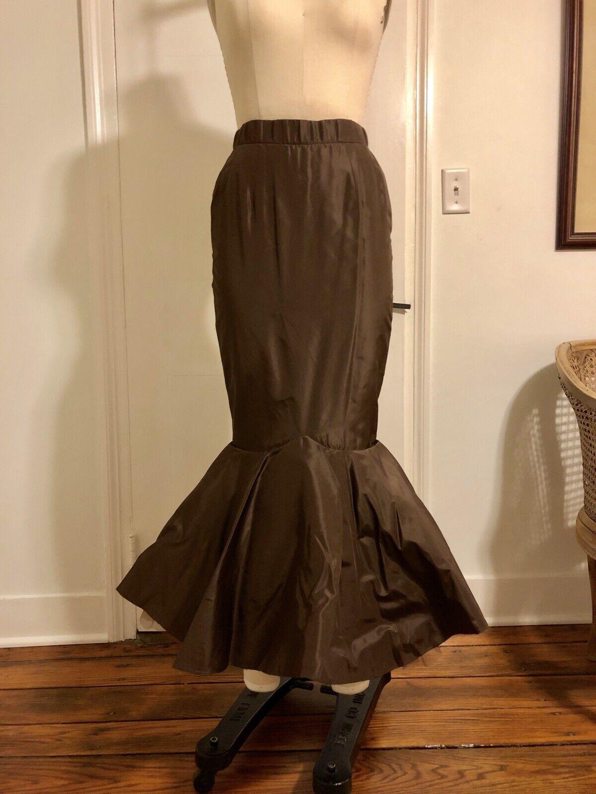 Chocolate Brown Taffeta And Tulle  Mermaid Skirt - Size 2